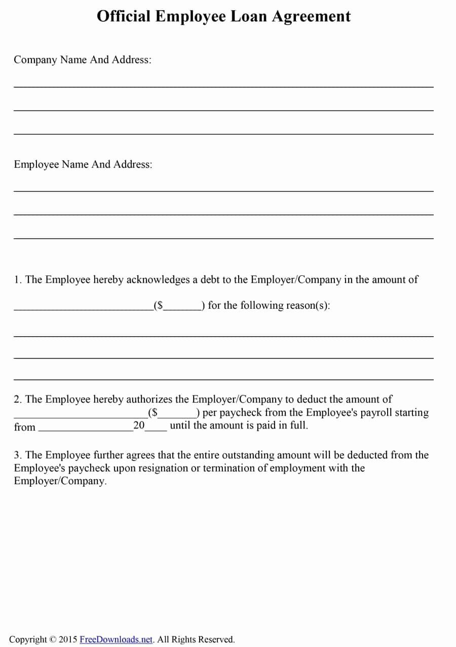 Employees Loan Agreement Fresh 40 Free Loan Agreement Templates [word & Pdf] Template Lab