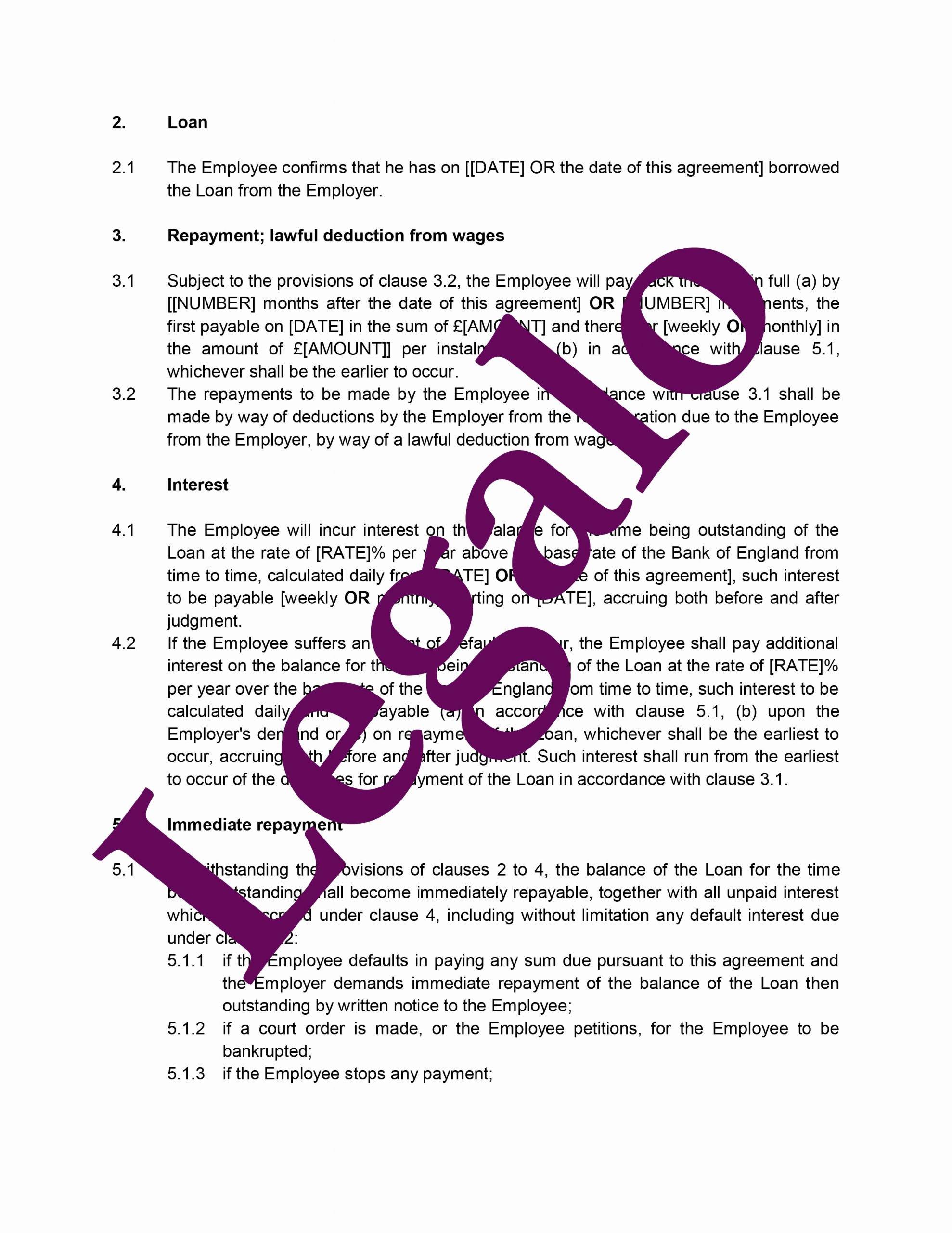 Employees Loan Agreement Fresh Employee Loan Agreement Legalo United Kingdom