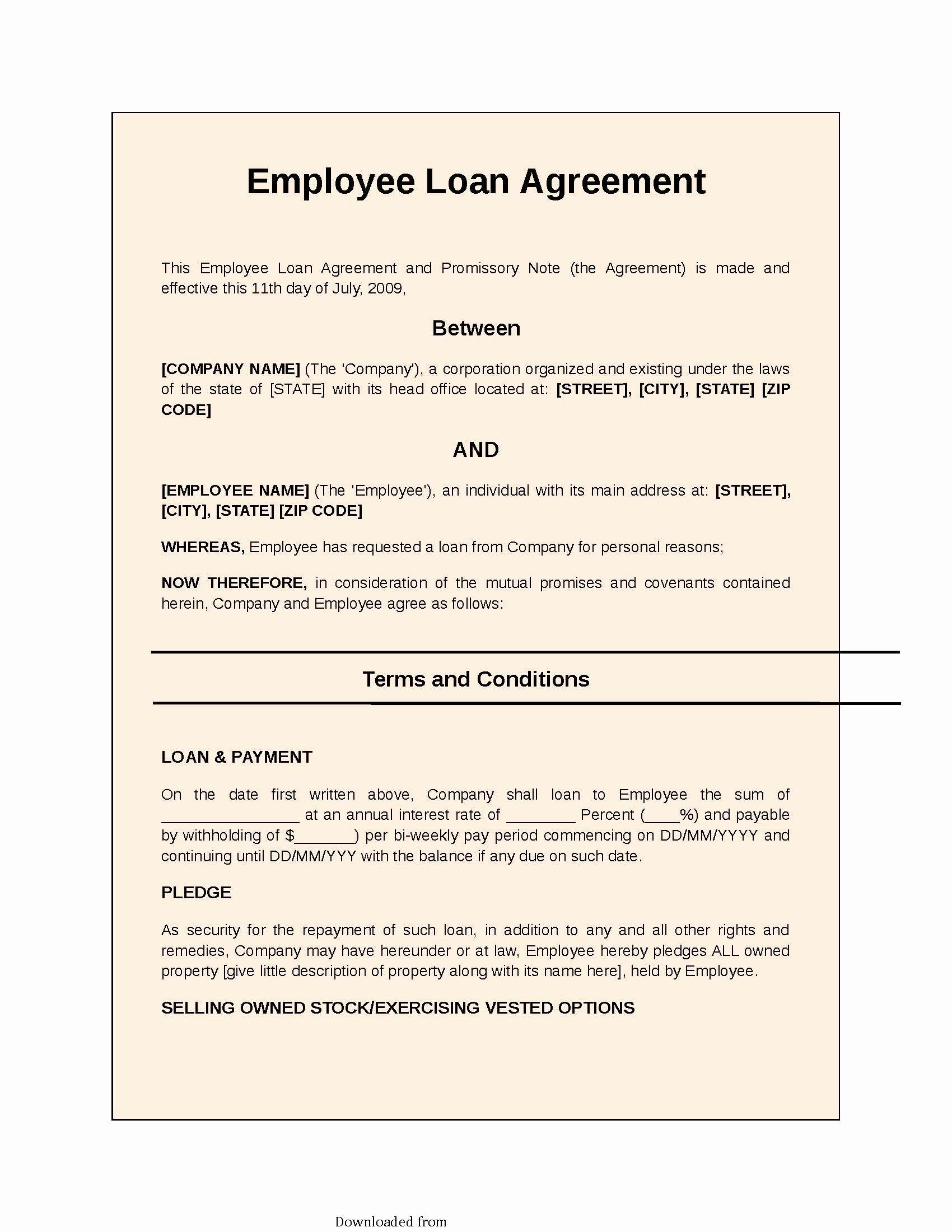 Employees Loan Agreement Inspirational Employee Loan Agreement 2 Pdf format