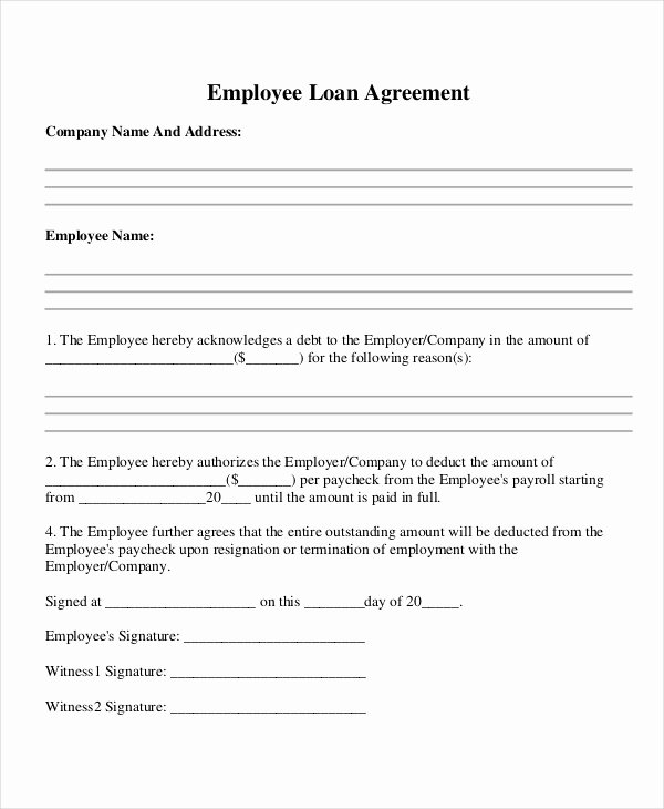 Employees Loan Agreement Unique 39 Basic Agreement forms