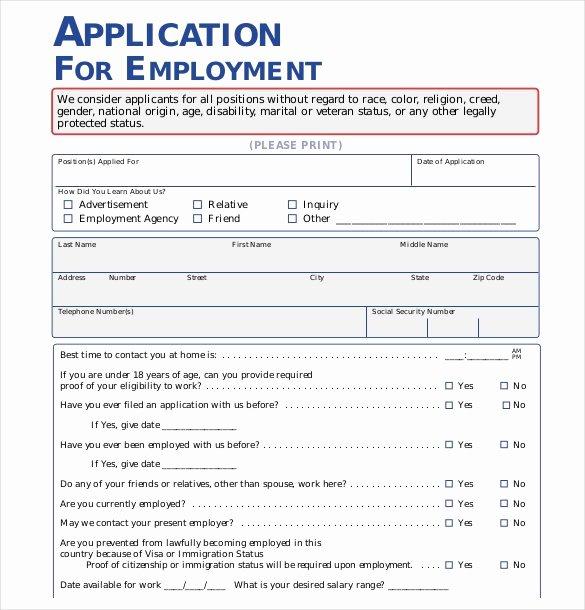 Employer Application Template Elegant Free Employment Application