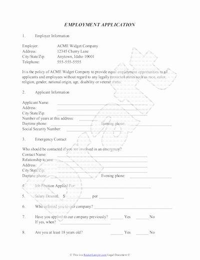 Employer Application Template Luxury Employment Application Template Free Job Application Sample