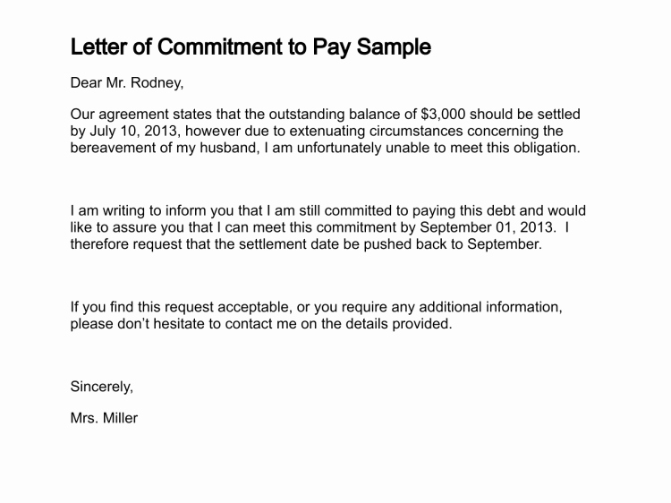 Employment Commitment Letter Awesome Letter Of Mitment to Pay Sample