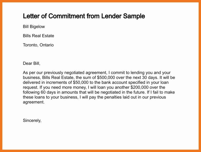 Employment Commitment Letter Lovely 4 5 Loan Mitment Letter Sample
