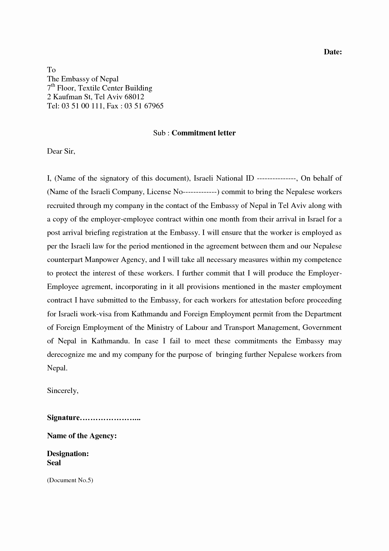 Employment Commitment Letter Lovely Mitment Agreement Template