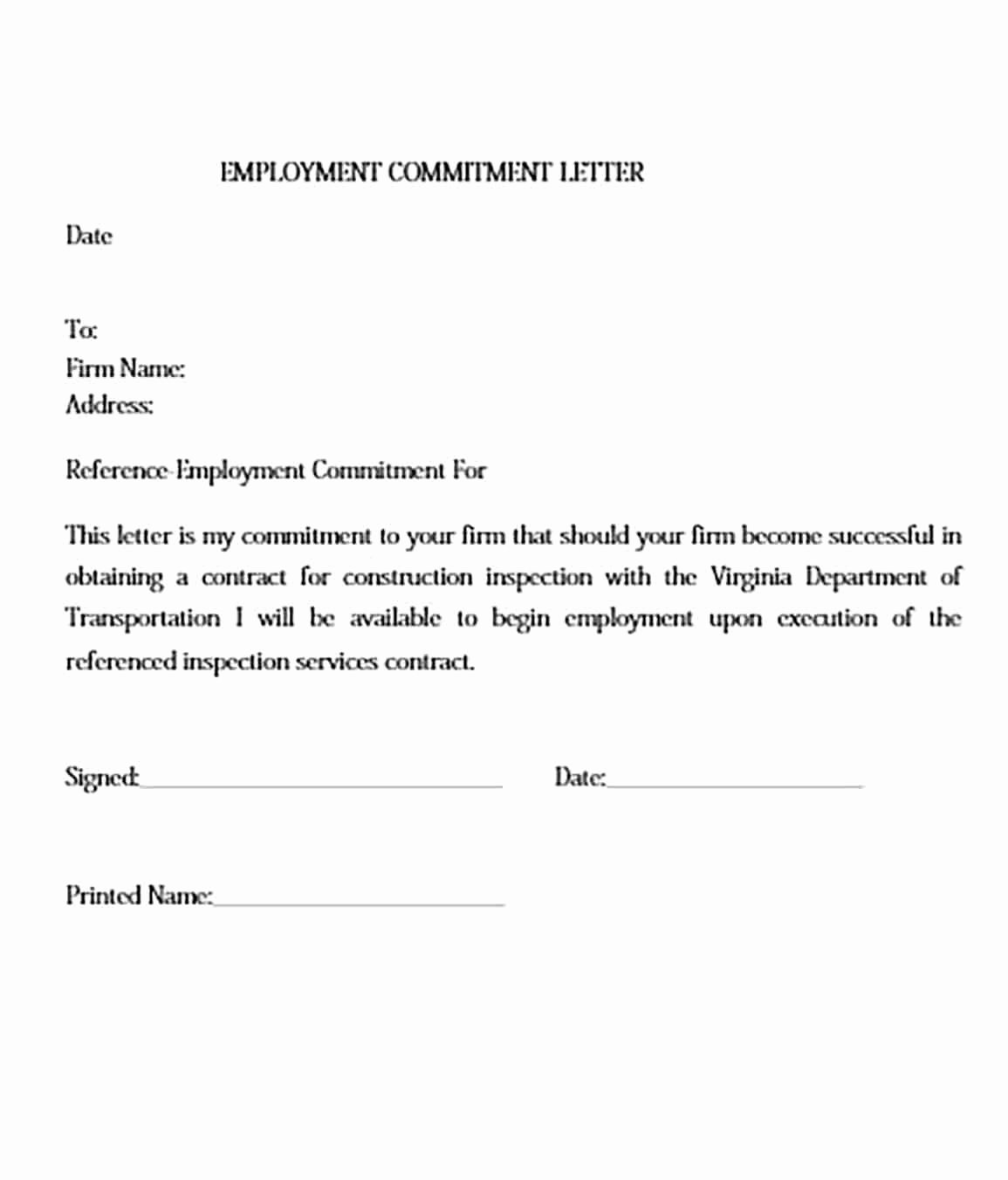 Employment Commitment Letter Lovely Mitment Letter and How to Make It Impressive to Read