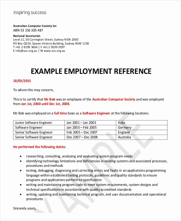 Employment Letter for Visa Application Beautiful Employment Reference Letter 11 Free Word Excel Pdf