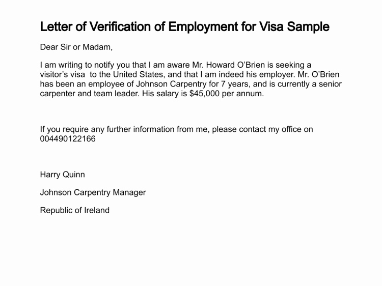 Employment Letter for Visa Application Inspirational Letter Of Verification Of Employment