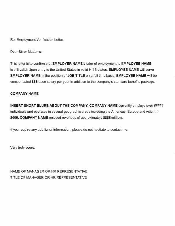 Employment Letter for Visa Application Unique H 1b Employment Verification Sample Letter