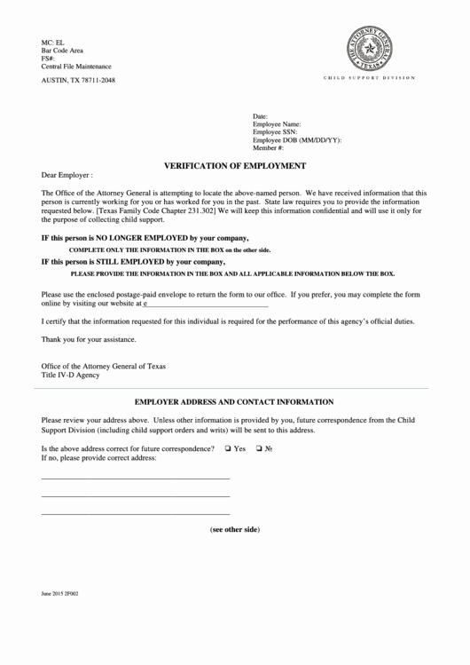 Employment Verification form Texas Beautiful Verification Employment form Printable Pdf