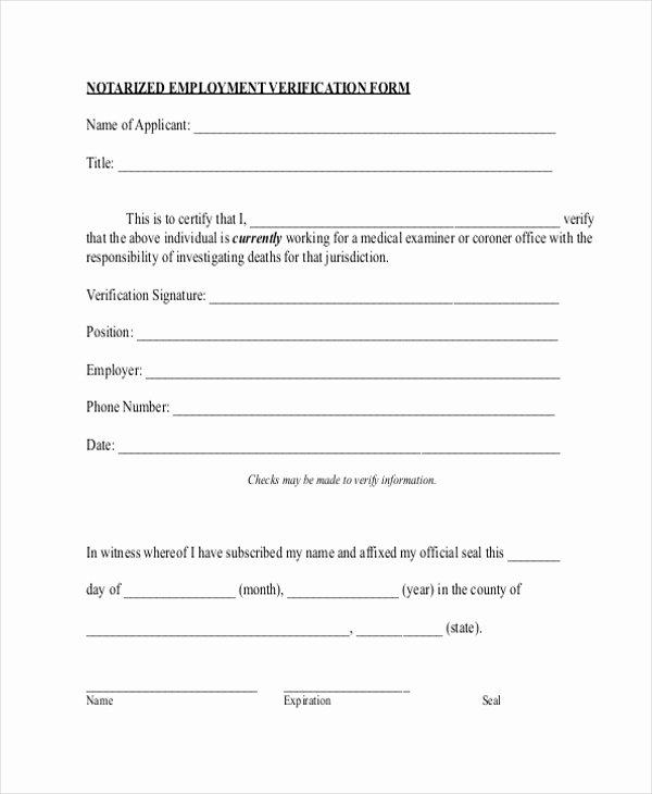 Employment Verification form Texas Fresh Free 13 Sample Employment Verification forms