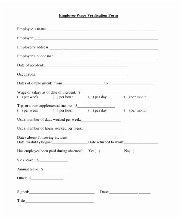 Employment Verification form Texas Luxury 18 Of Simple Lost Wages form Template