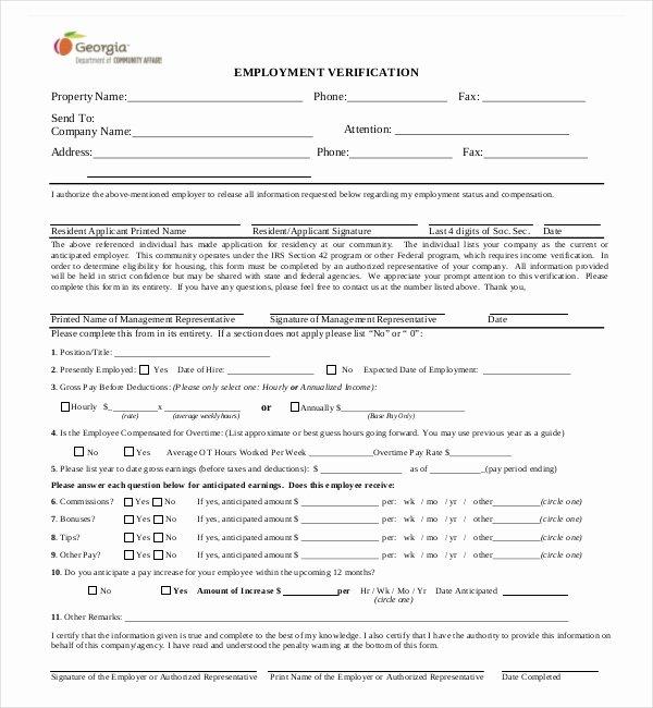 Employment Verification form Texas Unique Free 11 Sample Employment Verification forms In Pdf