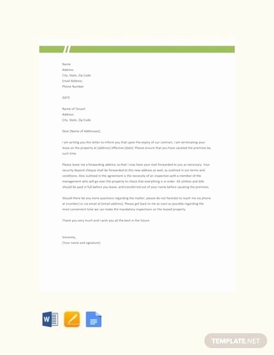 End Of Lease Letter to Tenant Elegant 9 End Of Lease Letter to Tenant Examples & Templates