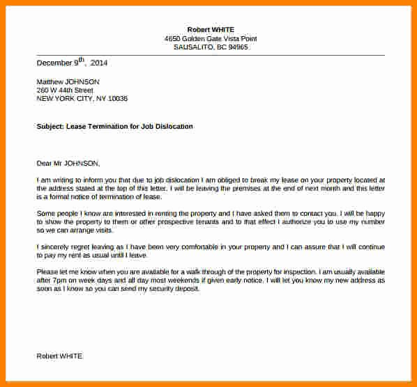 End Of Lease Letter to Tenant Inspirational 6 General Termination Letter