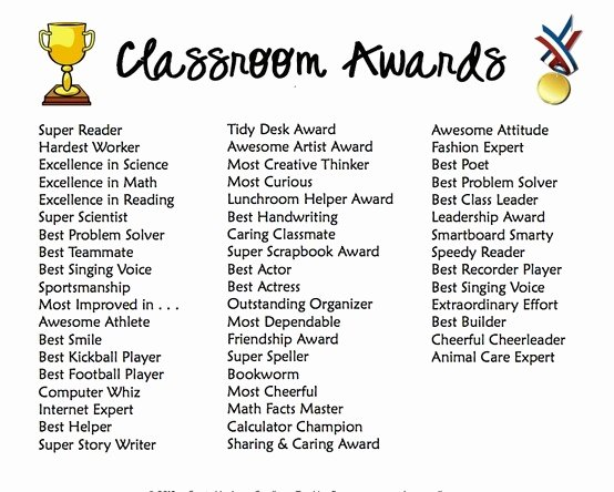 End Of Season soccer Awards Ideas Lovely Classroom Award Categories Classroom Ideas