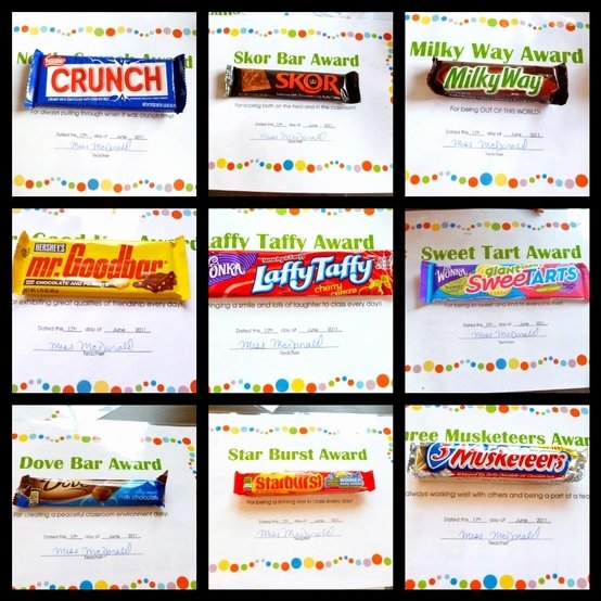 End Of the Year Awards for Students Funny Awesome Candy Bar Awards