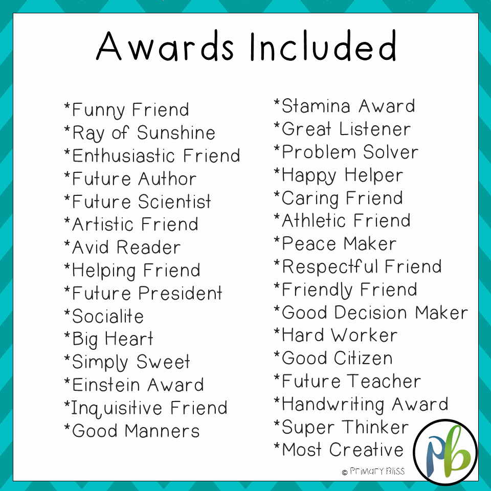 End Of the Year Awards for Students Funny Inspirational End Of Year Awards for Primary Grades