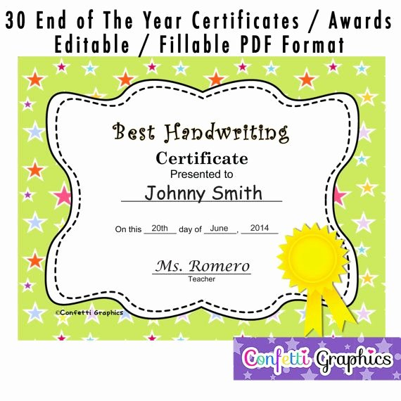End Of the Year Certificates Beautiful 30 Cute End Of the School Year Graduation by