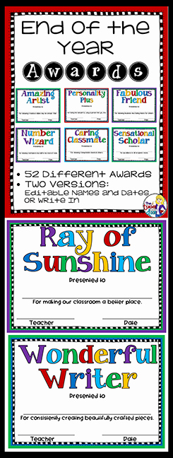 End Of Year Certificate Inspirational End Of the Year Awards Editable