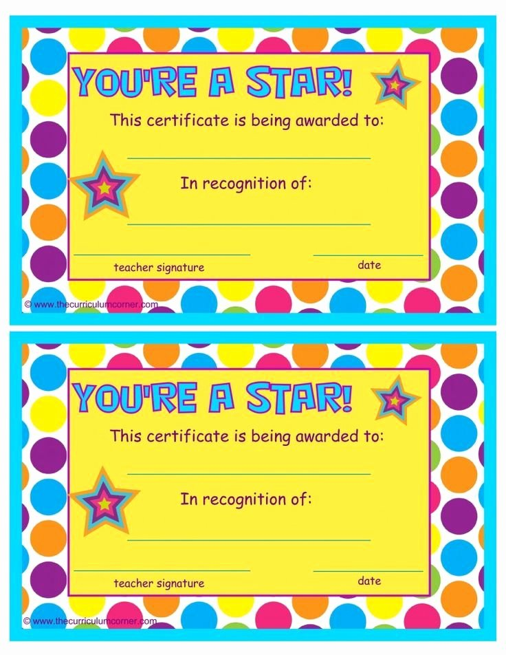 End Of Year Certificates Best Of You Re A Star End Of the Year Certificates