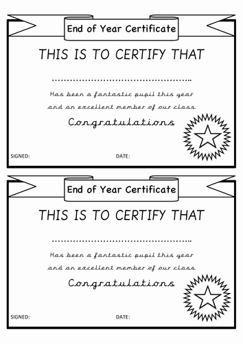 End Of Year Certificates Elegant End Of Year Certificates Transition by Teachersarchive