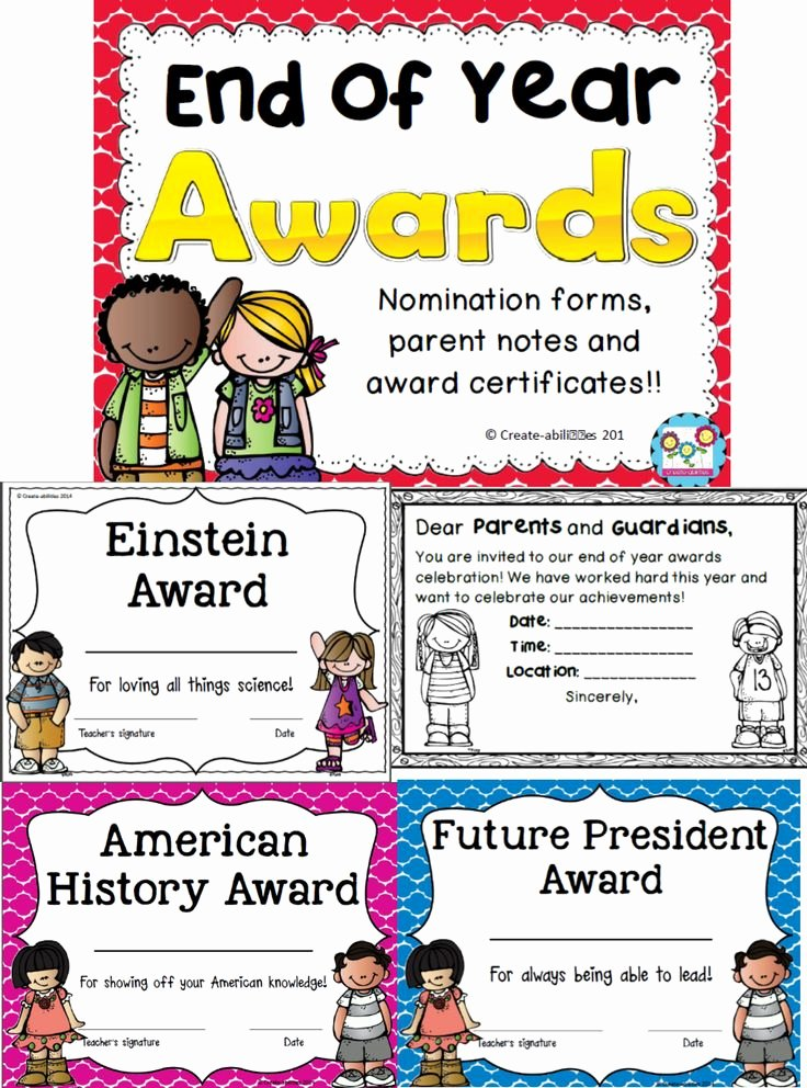End Of Year Certificates for Students Templates Beautiful End Of Year Awards Editable
