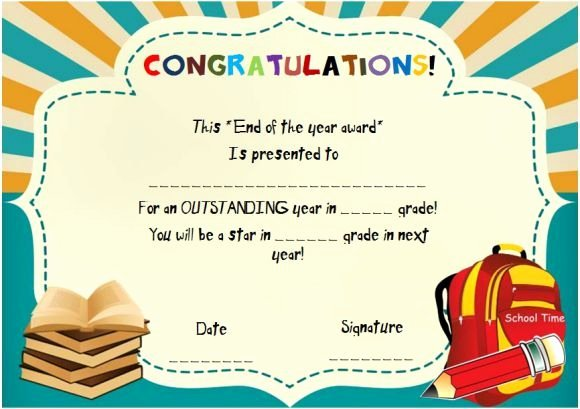 End Of Year Certificates for Students Templates Best Of End Of the Year Award for Elementary Students
