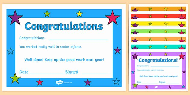 End Of Year Certificates for Students Templates Best Of End Of Year Irish Class Certificate