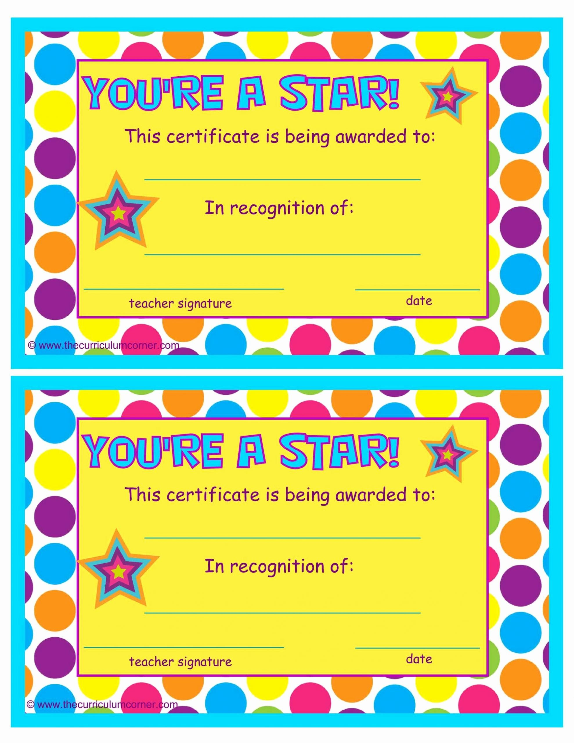 End Of Year Certificates for Students Templates Elegant You Re A Star End Of the Year Certificates