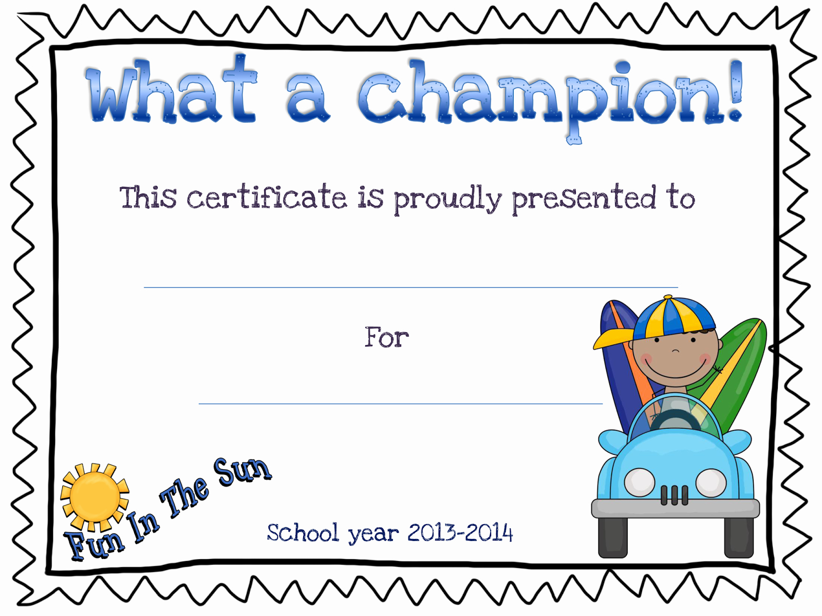 End Of Year Certificates Luxury Funny Miss Valérie Shining Stars
