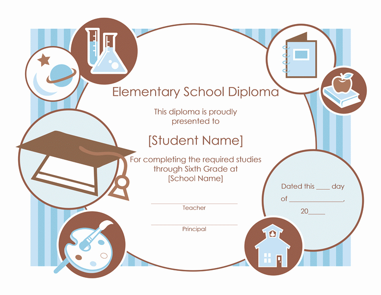 End Use Certificate Template Inspirational Elementary School Diploma Certificate Template