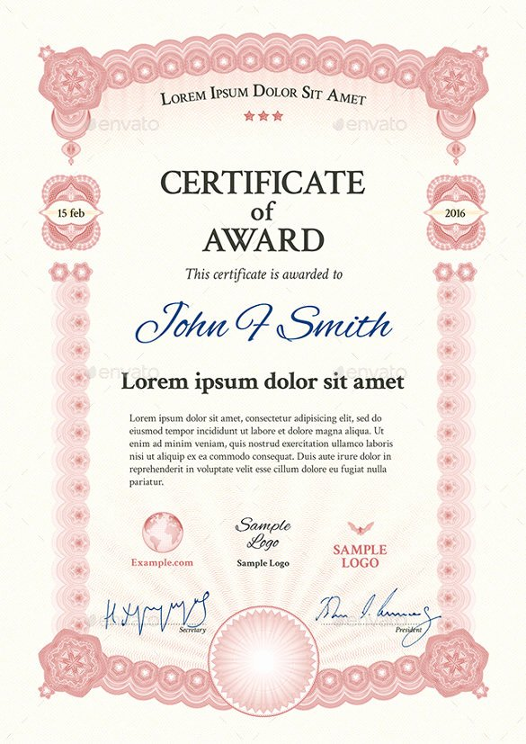 End Use Certificate Template Luxury Award Certificate Template 29 Download In Pdf Word