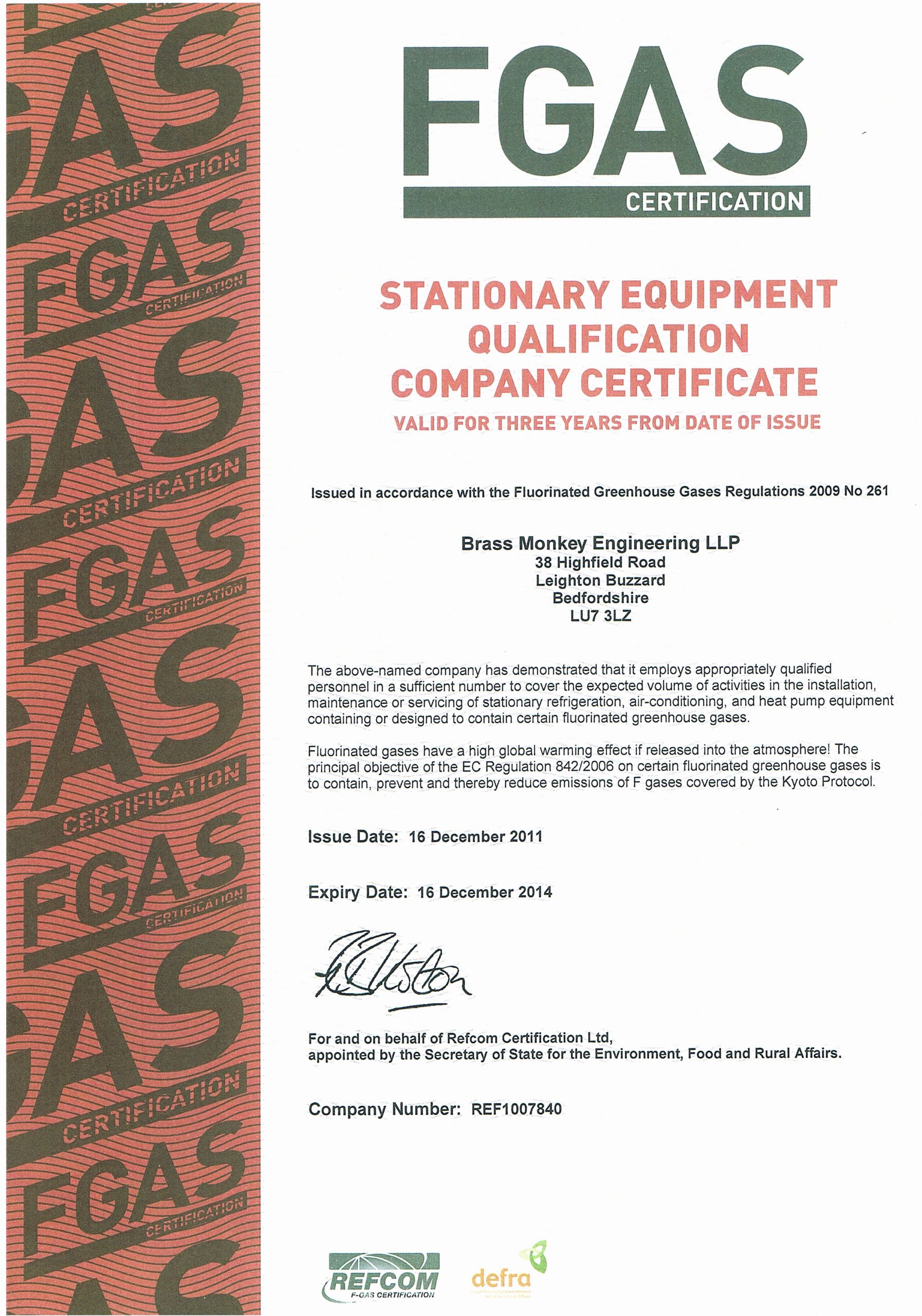 End User Certificate Template New Brass Monkey Engineering Llp Refrigeration & Air Conditioning