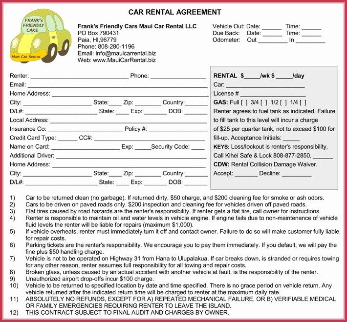 Enterprise Rental Agreement Lovely Car Rental Agreement 7 Samples forms Download In