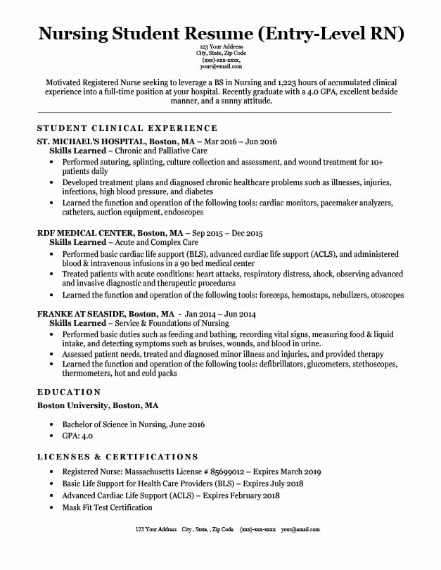 Entry Level It Resume with No Experience Elegant Entry Level Nursing Student Resume Sample & Tips