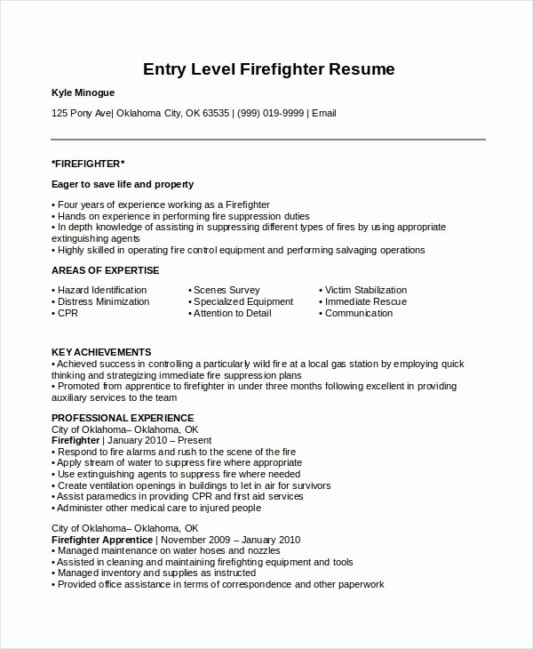 Entry Level It Resume with No Experience Fresh 7 Firefighter Resume Templates Pdf Doc