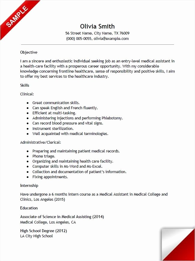 Entry Level It Resume with No Experience Fresh Entry Level Medical assistant Resume with No Experience