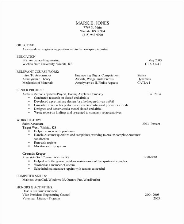 Entry Level It Resume with No Experience Luxury Entry Level Resume Example 10 Samples In Word Pdf