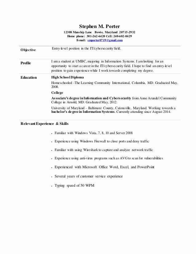 Entry Level It Resume with No Experience Unique Stephen Porter Entry Level Information Cyber Security