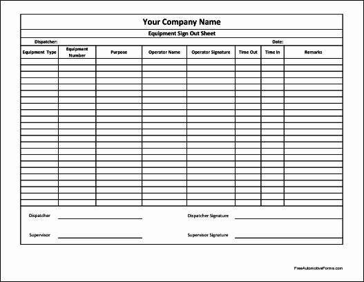 Equipment Checkout Log Awesome Free Personalized Equipment Sign Out Sheet Supervisor