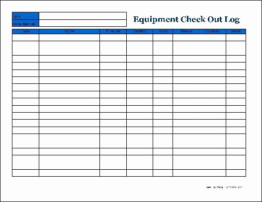 Equipment Checkout Log Best Of Free Detailed Equipment Check Out Wide From formville
