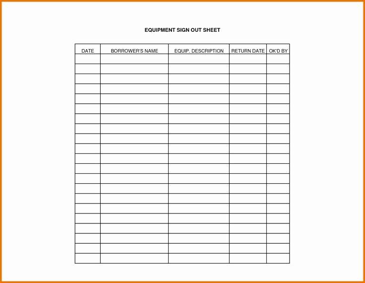 Equipment Checkout Log Inspirational Equipment Sign Out Sheet Template