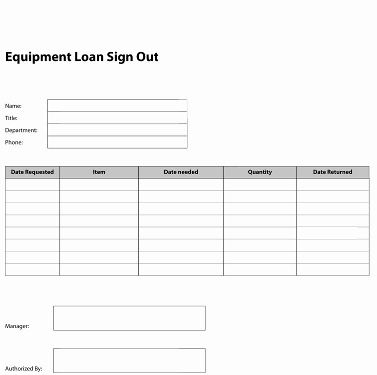 Equipment Checkout Log New 8 Best S Of Key Check Out form Template Equipment