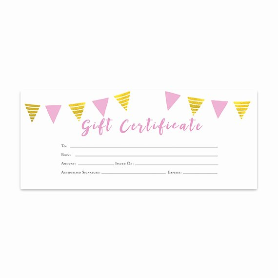 Etsy Gift Certificate Template Best Of Pink Gold Banner Gift Certificate Download Premade