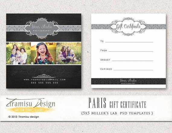 Etsy Gift Certificate Template Elegant Graphy Gift Certificate Photoshop 5x5 Card Template