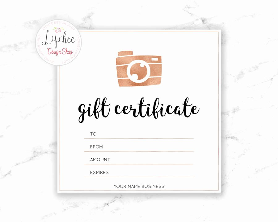 Etsy Gift Certificate Template Fresh Printable Rose Gold Camera Gift Certificate Template