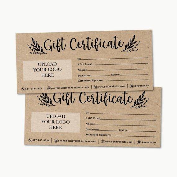 Etsy Gift Certificate Template Lovely Kraft Gift Certificate Template Printable Gift Certificate