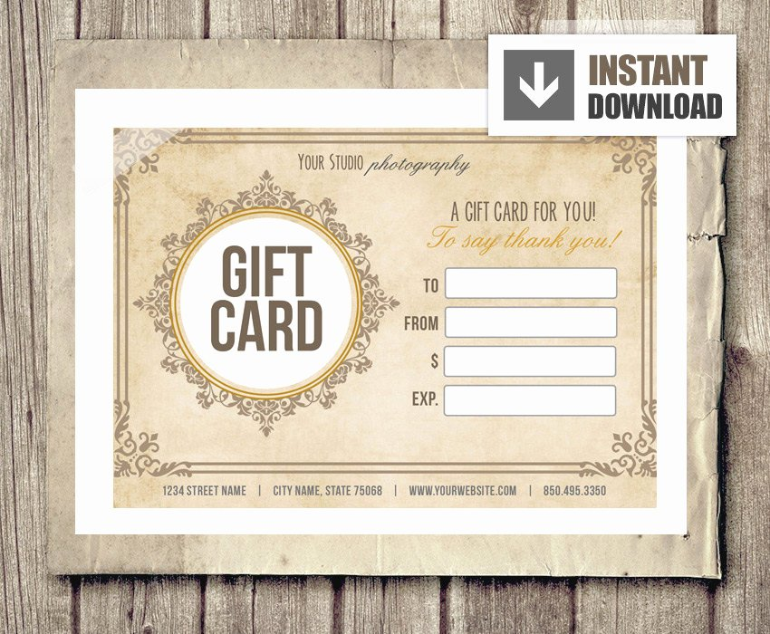 Etsy Gift Certificate Template New Gift Card Certificate Template for Graphers Vintage