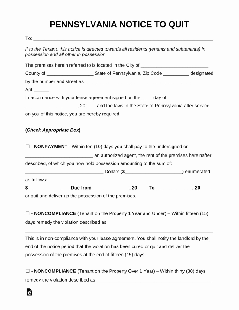 Eviction Notice Pa Template Luxury Free Pennsylvania Eviction Notice forms